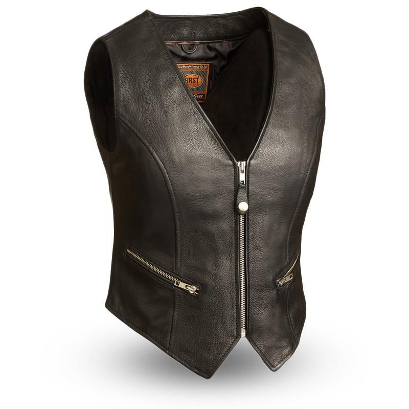 The Montana Ladies Motorcycle Black Leather Vest - HighwayLeather
