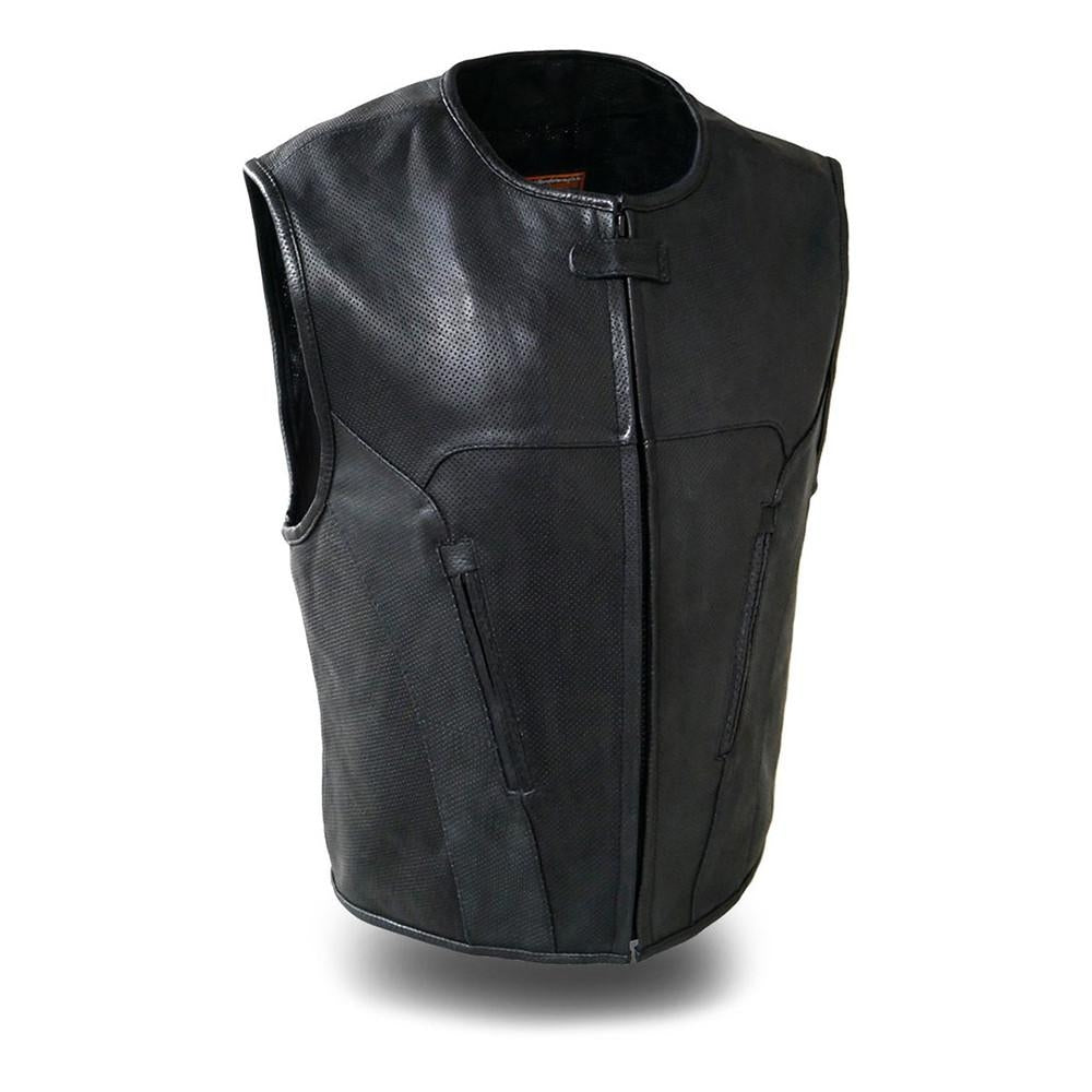The Raceway Men's Rolled Collar with Hidden Snap Collar Vest - HighwayLeather