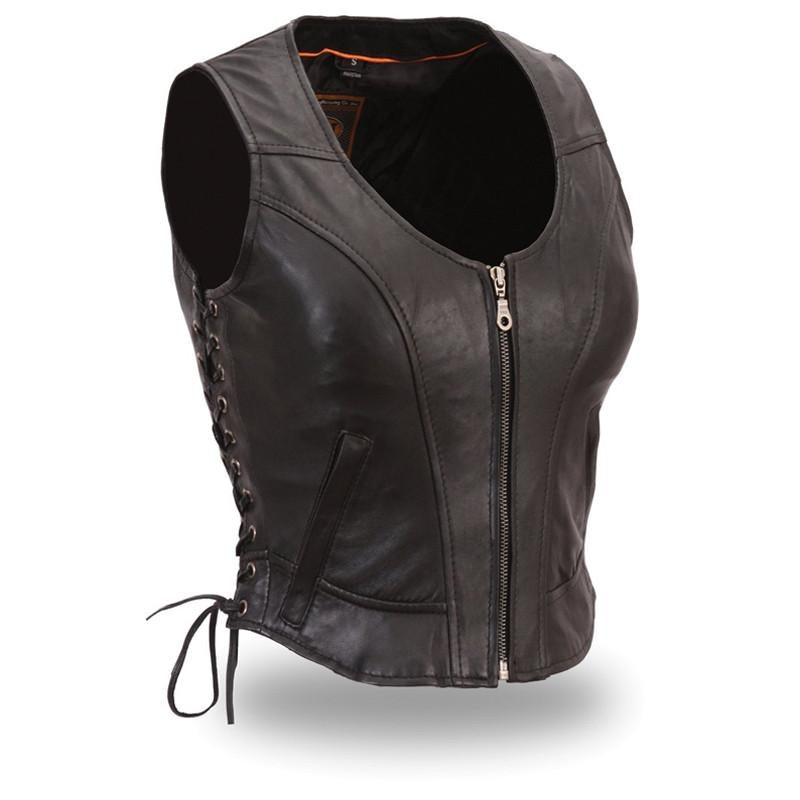The Raven Women's Clean Side-Laced Vest - HighwayLeather