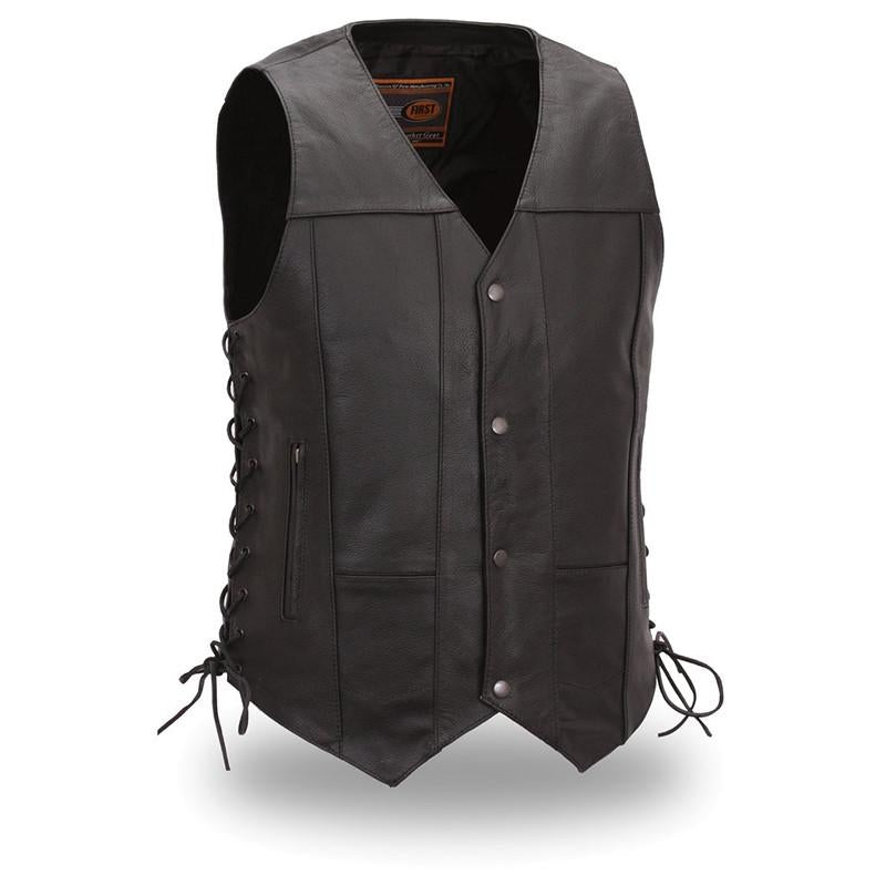 The Top Biller Men's 10-Pocket Leather Vest - HighwayLeather