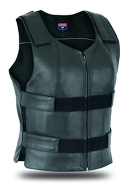 Color Women bullet proof style motorcycle club leather vest - Tactical Swat Police Vest High End - HighwayLeather