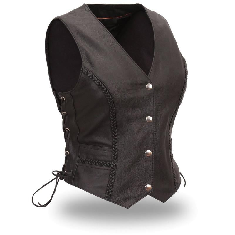 Women's Trinity Braided Leather Vest - HighwayLeather