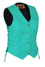 Women's Teal color side laced Leather Vest with Gun pockets for clubs - HighwayLeather
