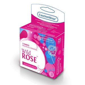 Wild Rose Ribbed Condoms - 3pk
