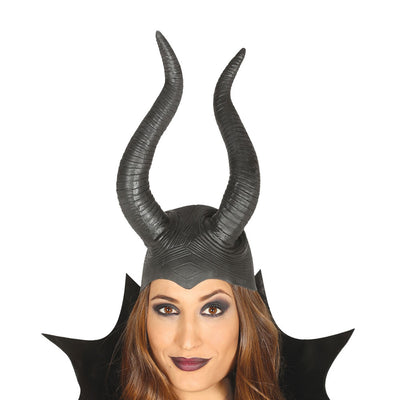 Gruselige Teufel Latex Halbmaske | Maleficent Wicked Evil Queen Horns Headpiece in Latex