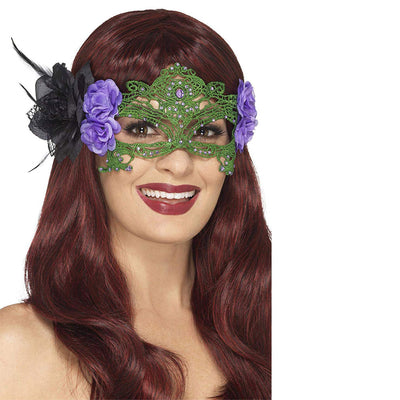 Stickerei Spitze filigranen Hexe Eyemask | Embroidered Lace Filigree Witch Eyemask Black