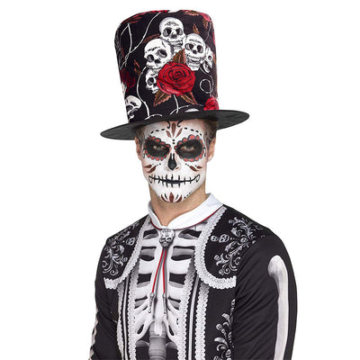 Tag der Toten Totenkopf und Rose Top Hat | Day of the Dead Skull & Rose Top Hat