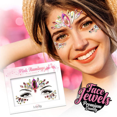 Face Jewels Pink Flamingo