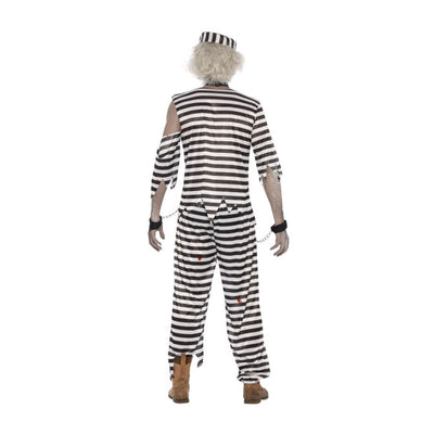 Zombie Convict Costume, With Top, Trousers, Hat and Chain Cuffs - Carnival Store