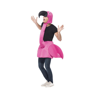 Flamingo Costume, Pink, One Piece Padded Body with Attached Neck & Hood - Carnival Store