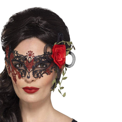 Damen Filigrane Tag der Toten Augenmaske mit Rosen | Day of the Dead Metal Filigree Eyemask - carnivalstore.de