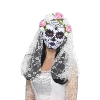 Day of the Dead Bride Mask, Full Face - Carnival Store