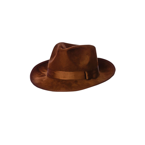 Brown Suede Deluxe Fedora Hat - Carnival Store GmbH 048a9979154