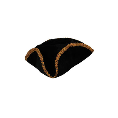 Black Pirate Hat with Gold Braid Trim - Carnival Store