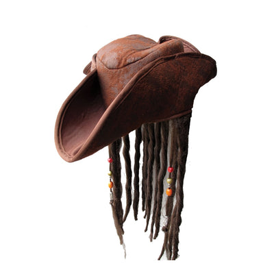 Brown Pirate Hat with Dreadlocks - Carnival Store