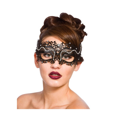 Filigree Eye Mask - Black w/Diamantes - Carnival Store