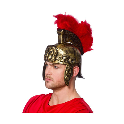 Roman Gladiator Helmet Plastic With Red Feather - Carnival Store
