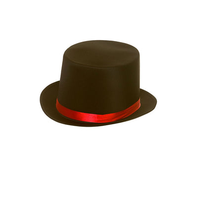 Satin Top Hat with Red Satin Band - Carnival Store