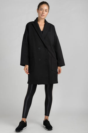 Abel Herringbone Raw Edge Fleece Trench