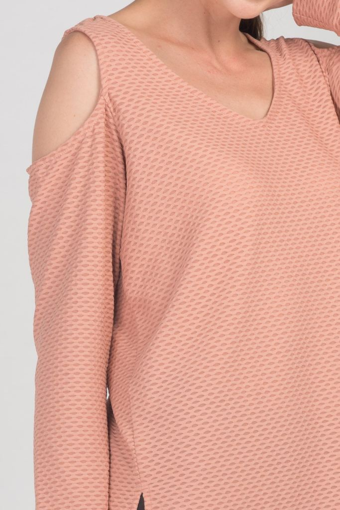 Cutout Shoulder Mesh Top