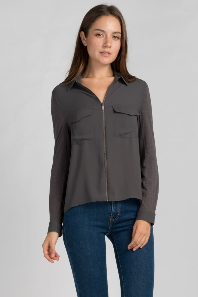 Double Pocket Zip Up Shirt