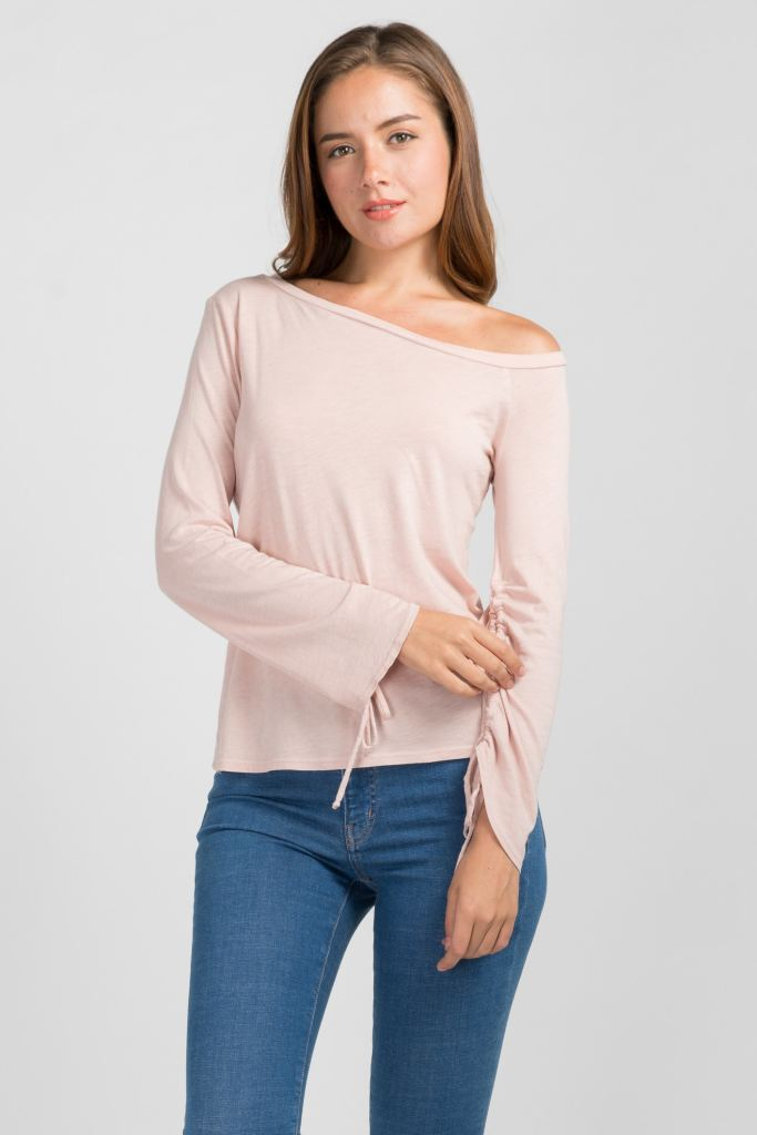 Off-The-Shoulder Drawstring Sleeve Top