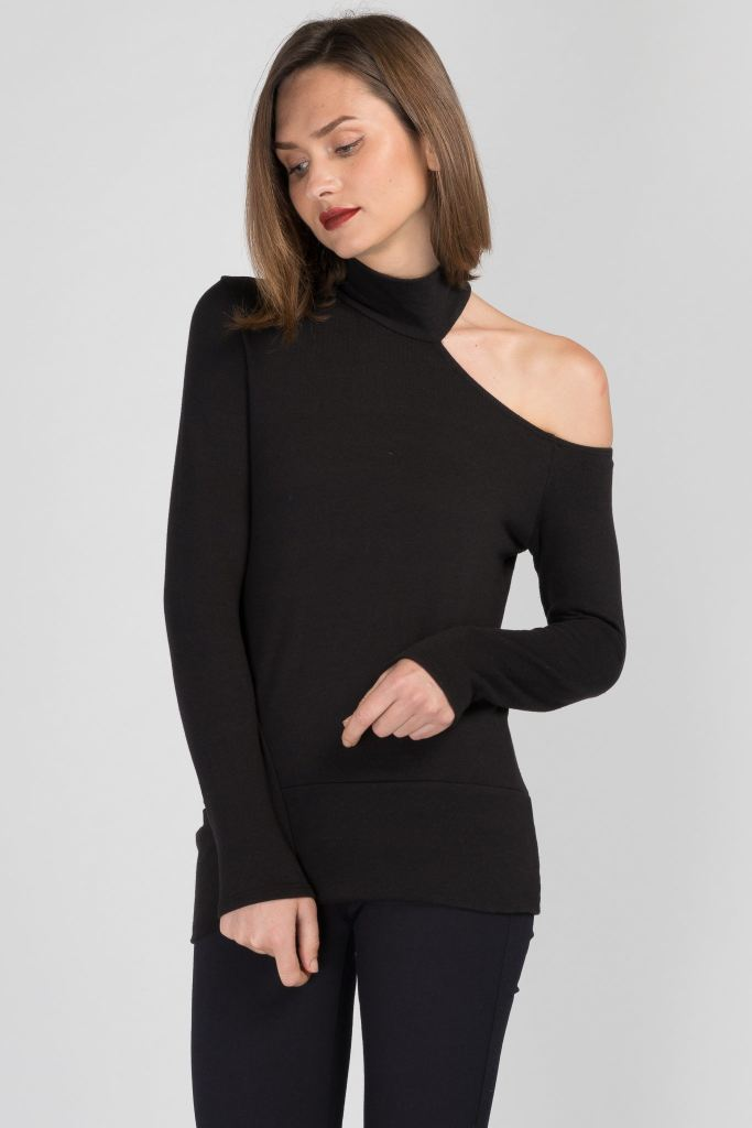 Sliced Turtle-Neck Top
