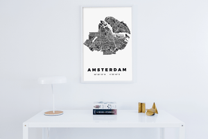 Amsterdam City Map Poster Black & White minimalistic design white room desk scandinavian hygge interior