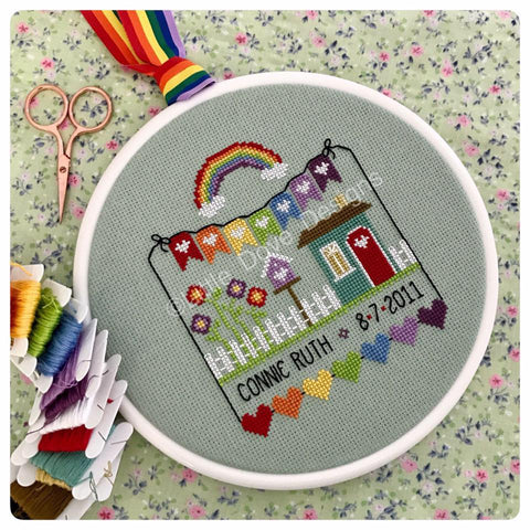 Rainbow Birth Sampler Chart