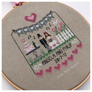 Pink Hearts Wedding Sampler Chart Pack