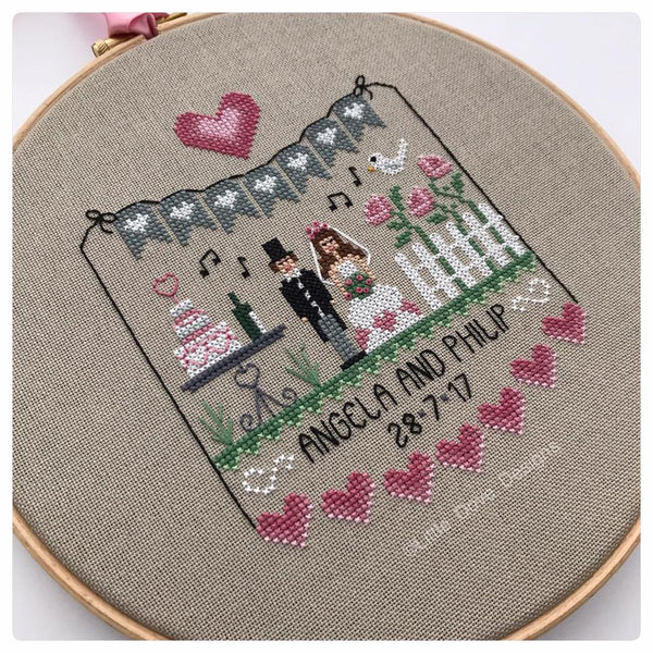 Pink Hearts Wedding Sampler