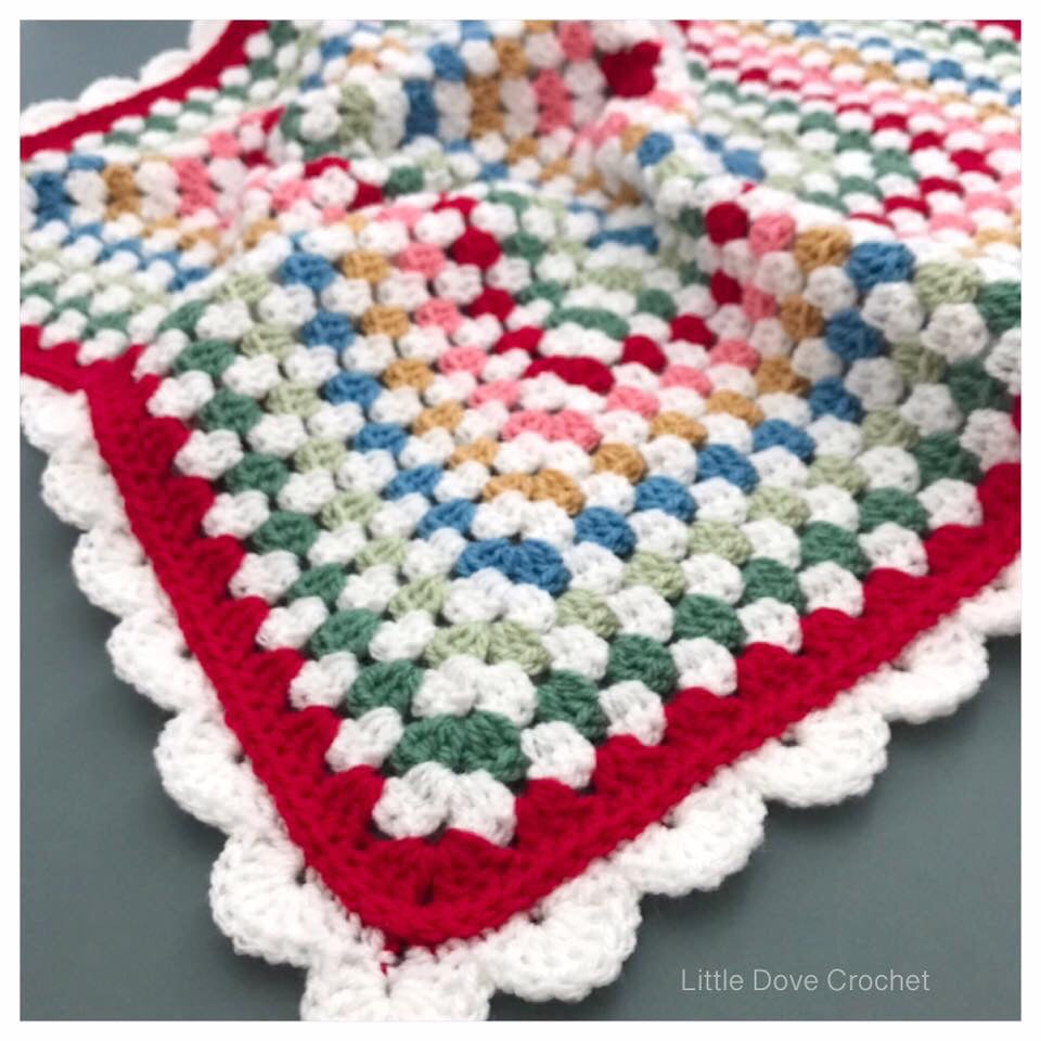 Bright Striped Granny Square Baby Blanket