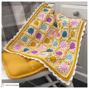 Yellow Granny Circle Baby Blanket