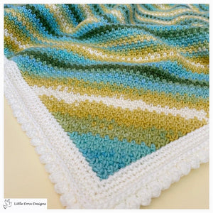 Diagonal Stripe Green, Blue and Yellow Baby Blanket
