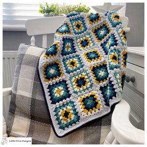 Green and Mustard Granny Squares Blanket
