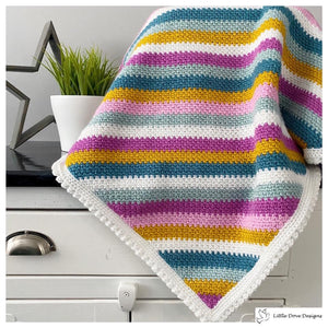 Diagonal Stripe Blanket in Pinks, Blues and Mustard