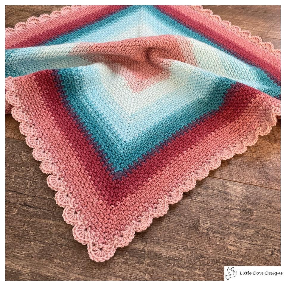 Square Baby Blanket in Pinks and Blues