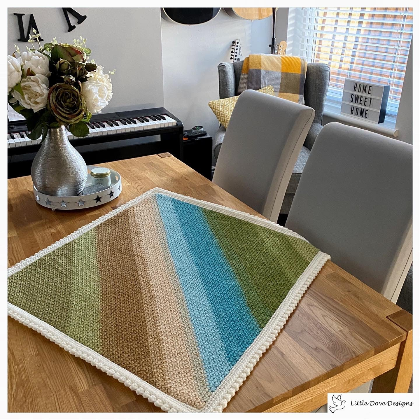 Diagonal Stripe Green, Brown and Blue Baby Blanket