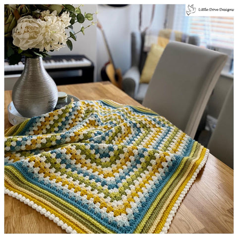 Blue and Green Granny Square Blanket