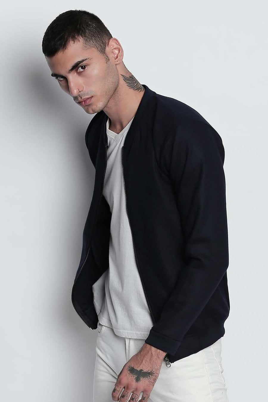 Navy Blue Drill Bomber Jacket