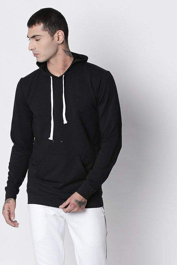 Hemsters Hoodies M Black Full sleeve Drawstring Hoodie