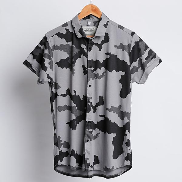 Dark Grey Camouflauge Half Sleeve Shirt
