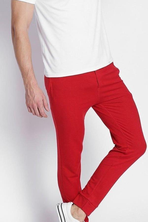 Hemsters Trackpant 28 Red Solid Slim Fit Trackpant