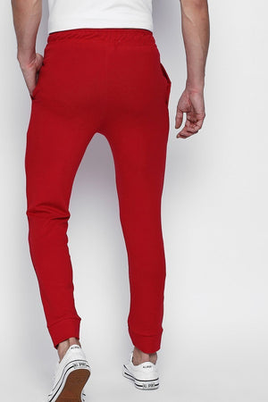 Hemsters Red Solid Slim Fit Track Pant