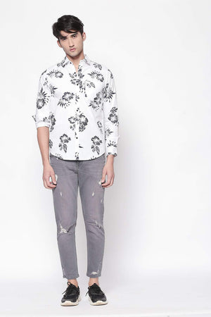 Hemsters white full-sleeve printed shirt for men