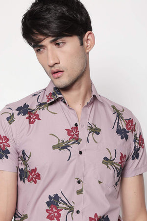 Hemsters pink half-sleeve floral printed shirt for men