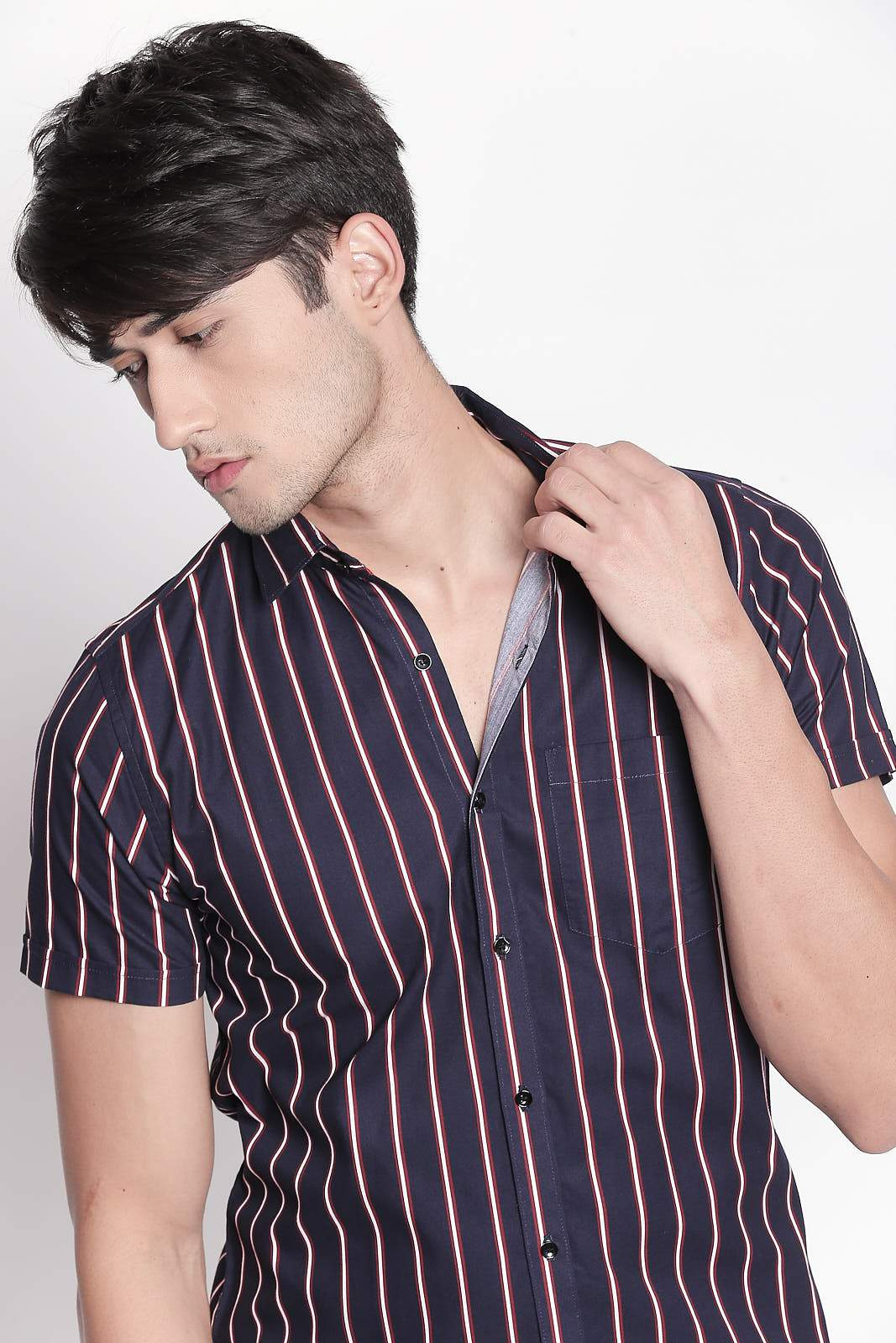 Hemsters Navy Blue Half-Sleeve Stripe shirt For Men