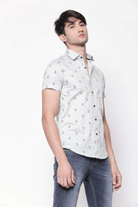 Hemsters light grey beige half sleeve printed shirt for men
