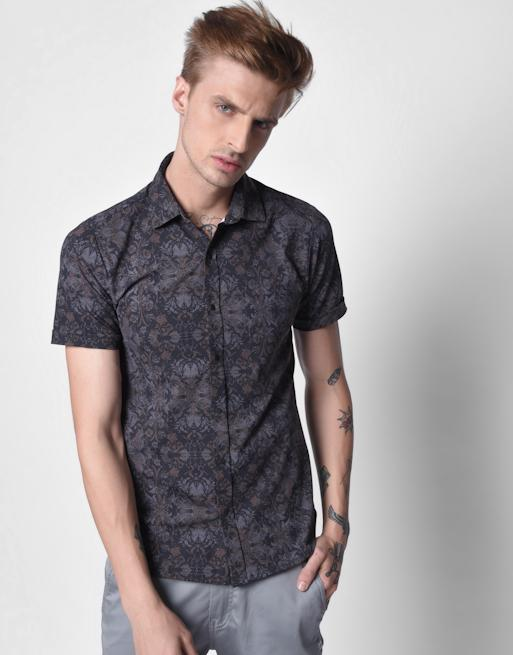 Hemsters Floral Print Shirt for Men