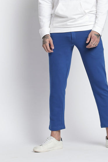 Royal Blue Slim Fit Ankle length Trackpant